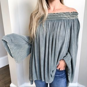 Altar'd State Off The Shoulder Boho Blue/Green Top